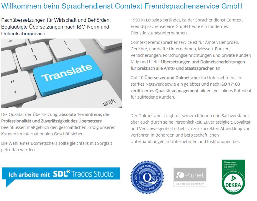 ISO 17100 Zertifizierung bei Comtext